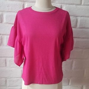 NWT ZARA SS18 PINK RIBBED RUFFLED SLEEVE T-SHIRT